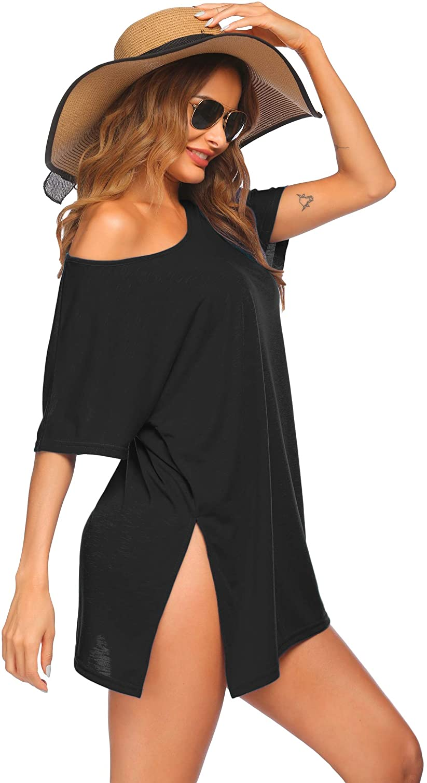 Ekouaer Women's Swimsuit Beach Cover Up Short Sleeve Cover Ups for Swimwear Bathing Suit Coverups S-XXL
