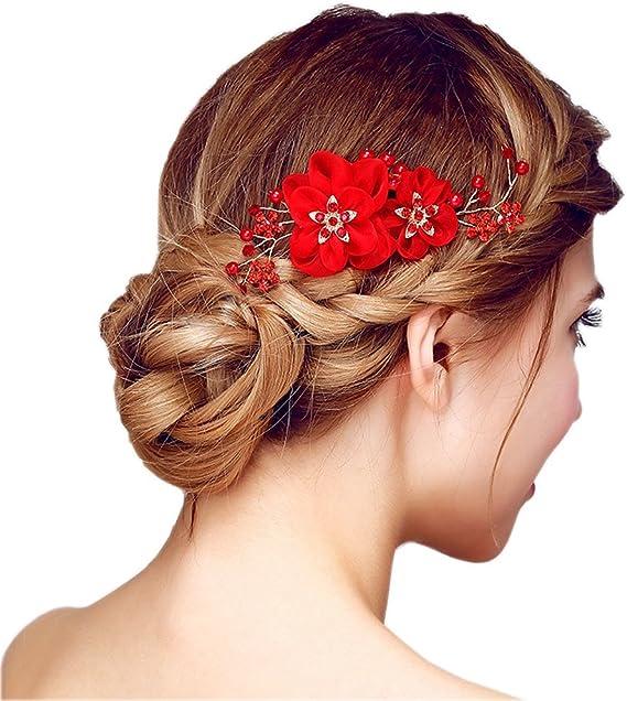 Lot de 10 épingles à chignons perles blanches et strass bijou de cheveux maria