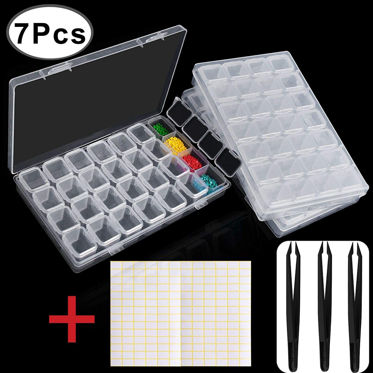 Outee 3 Pack 28 Grids Diamond Painting Box Storage 5D Diamond Painting Accessories Storage Box for Diamond Embroidery with 3 Pack Tweezers and 168 Pieces Craft Label Marker Sticker