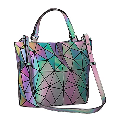 f722fab0bd1e Harlermoon Geometric Luminous Holographic Purses and Handbags Flash  Reflactive Tote for Women …
