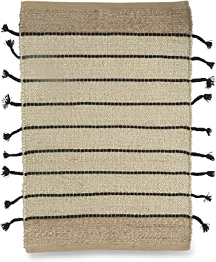 Boho Traders Asmita Jute Handloom Floor Mats with Side Fringe, Black/Natural
