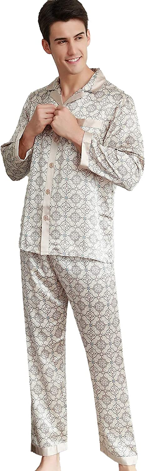 FMOGG Men's Silk Pajamas Set Spring and Summer Men's Long-Sleeved Hit Color Tops and Pants Sleepwear Cardigan Comfortable and Breathable Nightshirts Home Service
