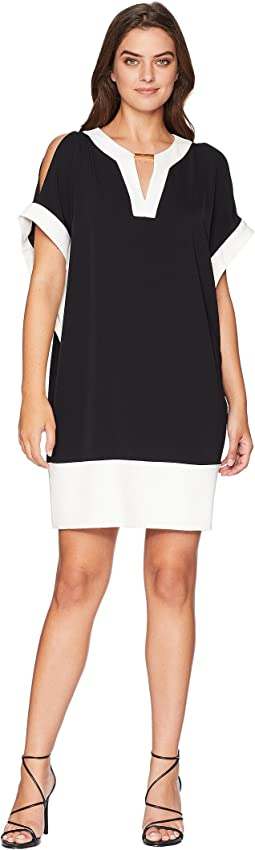 Elbow Dolman Sleeve V-Neck Bar Trim Color Block Dress