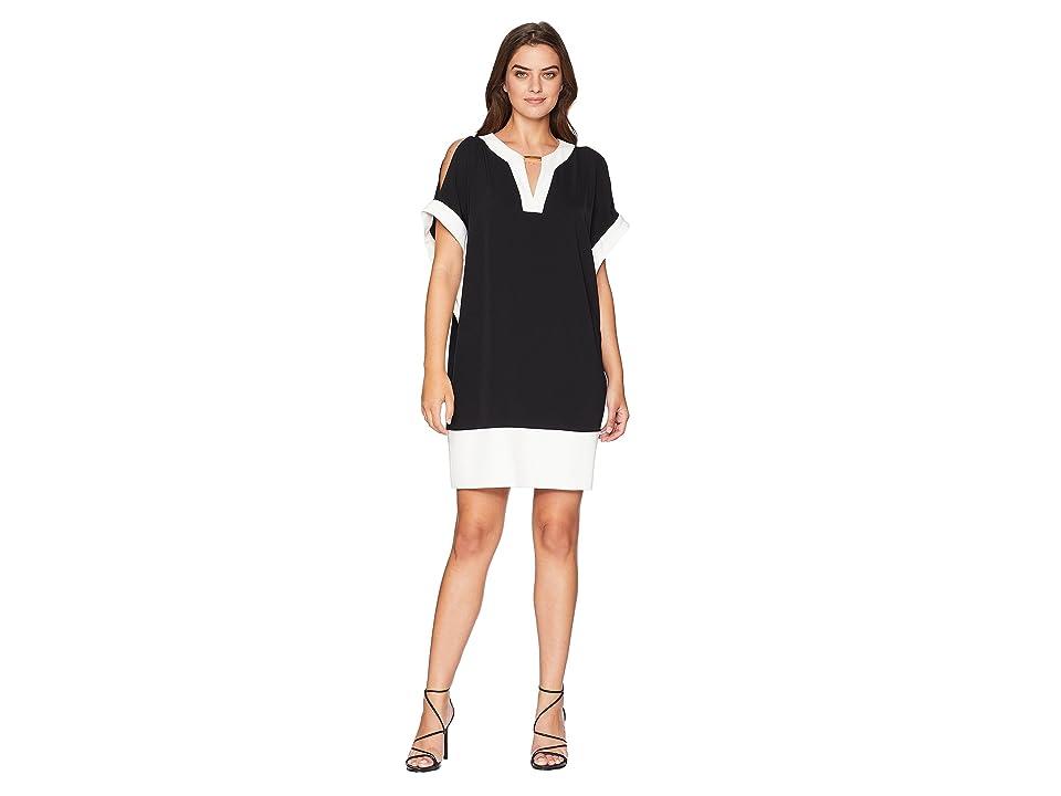 Jones New York Elbow Dolman Sleeve V-Neck Bar Trim Color Block Dress (Black) Women