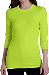 Neon Color Athletic Wicking T Shirts - Adult Men Women High Visibility Long Sleeve T Shirt
