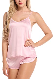 Ekouaer Sleepwear Womens Sexy Lingerie Satin Pajamas Cami Shorts Set Nightwear