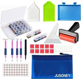 JUSONEY 33PCS Kit de pintura diamantes: bolsa organizadora, bolígrafos adhesivos, pinzas de punta metálica, cajas de almacenamiento de 28 ranuras, etiqueta de número, rodillo, raspador