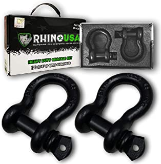 """Rhino USA D Ring Shackle (2 Pack) 41,850lb Break Strength – 3/4"""" Shackle with 7/8 Pin for use with Tow Strap, Winch, Off-Road Jeep Truck Vehicle Recovery, Best Offroad Towing Accessories (BLACK MATTE)"""