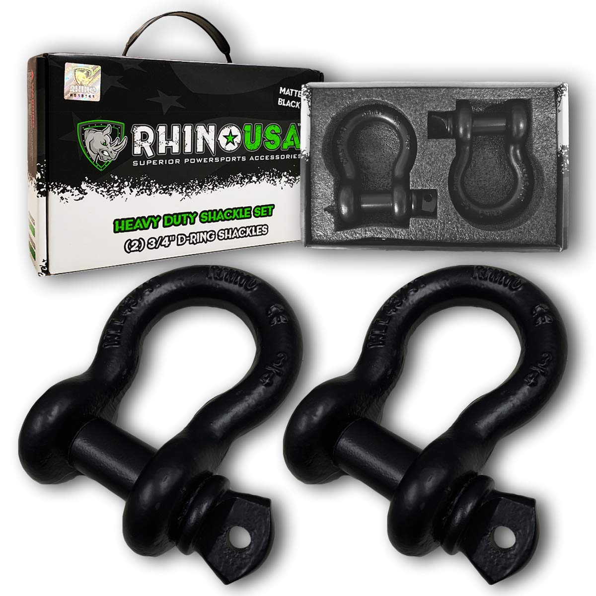 20ft Lab Tested 31,518lb Break Strength Triple Reinforced Loop End to Ensure Peace of Mind RHINO USA COMBO Recovery Tow Strap /& D Ring Shackles Heavy Duty Draw String bag Included