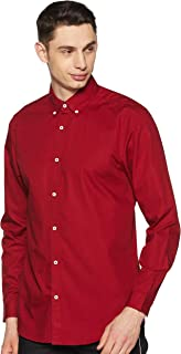 GLORYBOYZ Men's Trim Regular Fit Cotton Casual Shirt (Burgandy)