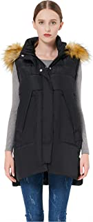 Orolay Women's Winter Long Down Vest with Faux Fur Trimmed Hood Casual Zip up