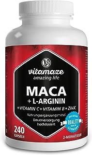 Vitamaze® Maca Capsule ad Alto Dosaggio 4000 mg Polvere + L-Arginina + Vitamine + Zinco, 240 Capsule per 2 Mesi, Qualità T...