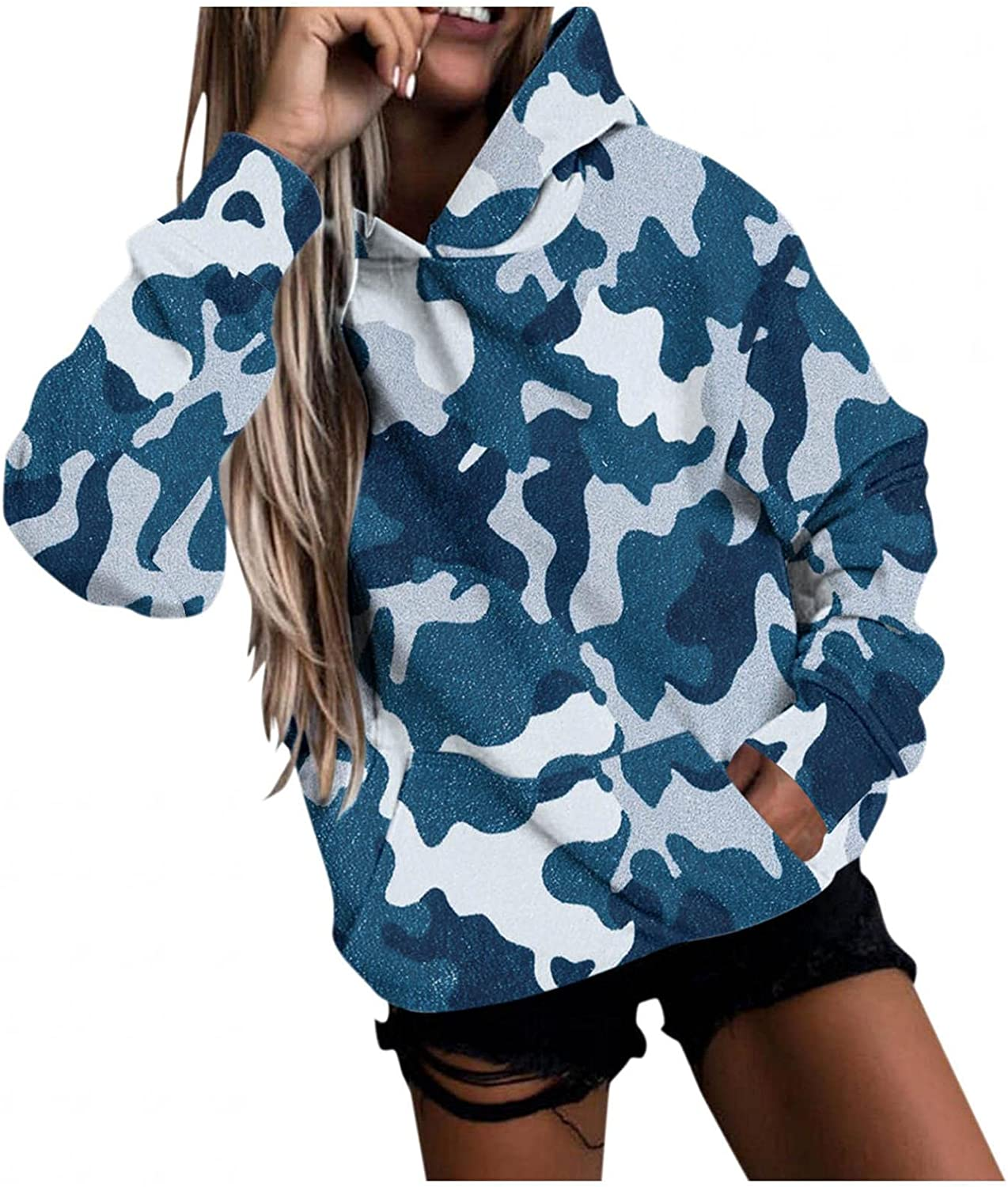Toeava Sweatshirt for Women Casual Hoodies Long Sleeve Camouflage Graphic Pullover Tops Loose Sweatshirts with Pocket
