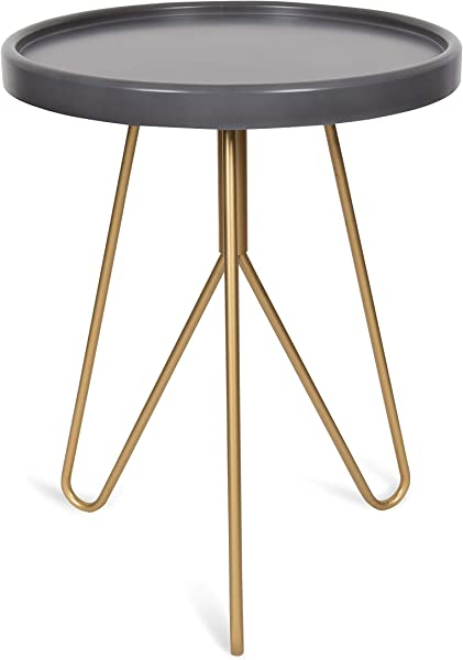 Kate And Laurel Maxey 22 Inch Round Tall Side Table Gray And Gold