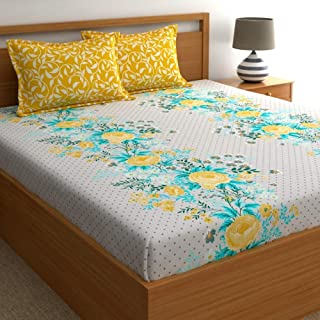 Dreamscape Twill 100% Cotton Double bedsheet with 2 Pillow Covers Set, 180TC Floral Yellow bedsheets for Double Bed Cotton...