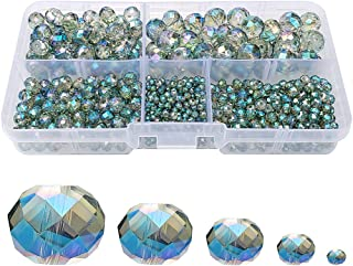 Chengmu 2-10mm Clear Green Rondelle Glass Beads for Jewelry Making AB Colour 710pcs Faceted Briolette Shape Crytal Spacer Beads Assortments Supplies Accessories for Bracelet Necklace with Cord