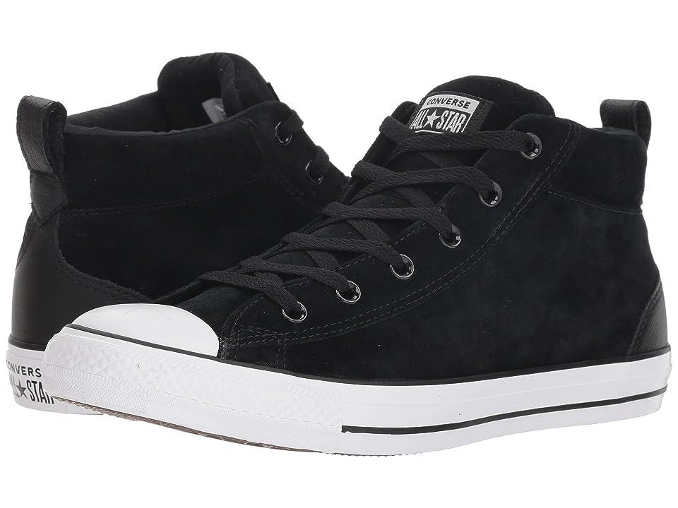 Converse Chuck Taylor All Star Street Letterman Jacket Mid (Black/Black/White) Shoes