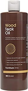 Furniture Clinic Teak Oil   Wood Oil Protects Outdoor Furniture   Restores Wood & Prevents Drying & Deterioration   Natural Matt Finish, 17oz/500ml