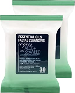 Essential Oils Detoxifying Facial Cleansing Makeup Remover Wipes with Aloe and Seaweed – 2 Pack (60 Count)