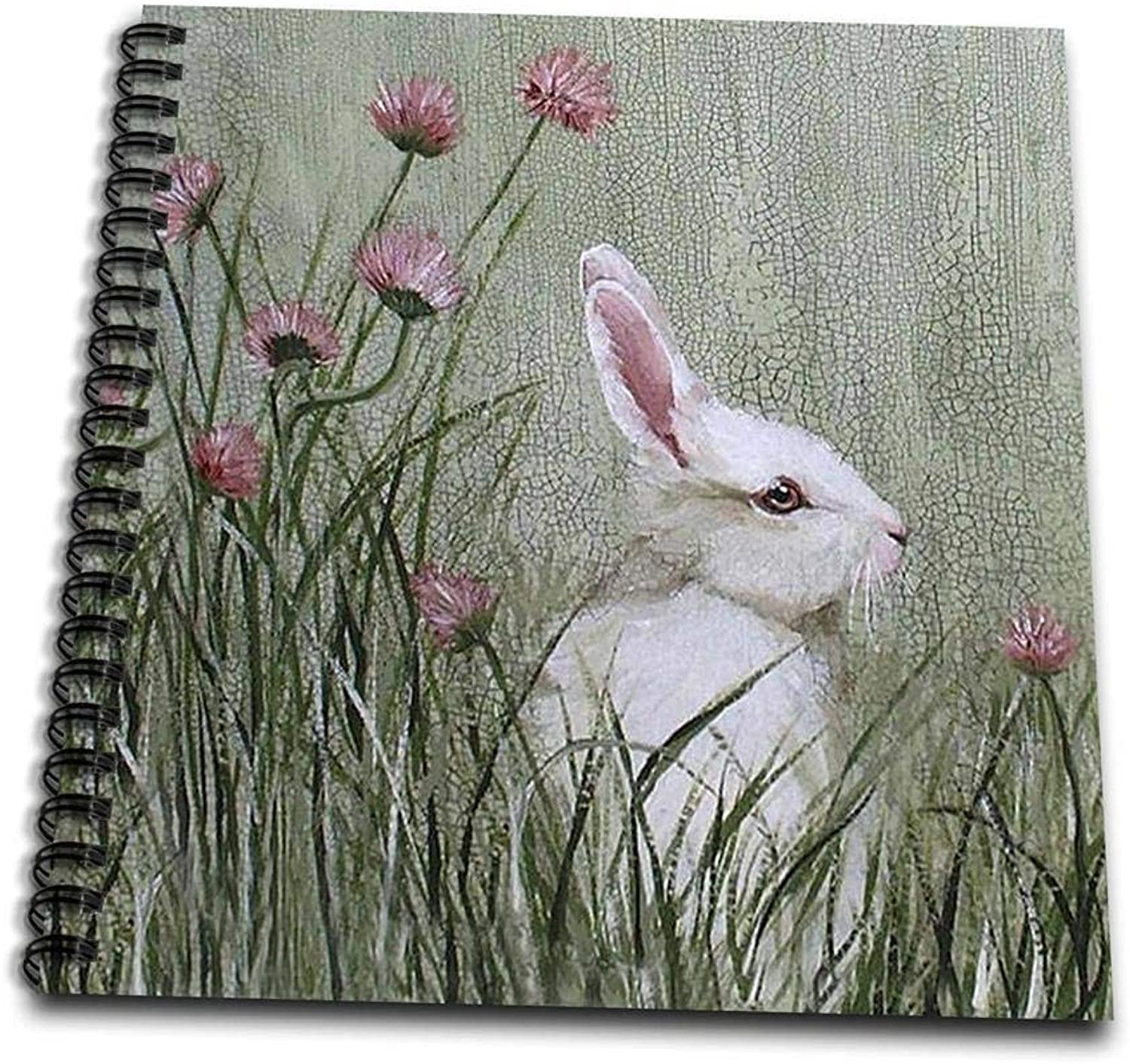 3dpink db_44349_1 Side View of Bunny Rabbit in Tall Grass with Pink Wildflowers Drawing Book, 8 by 8