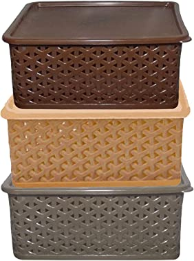 Kuber Industries Plastic 3 Pieces Small Size Multipurpose Solitaire Storage Basket with Lid (Multi) -CTLTC10899
