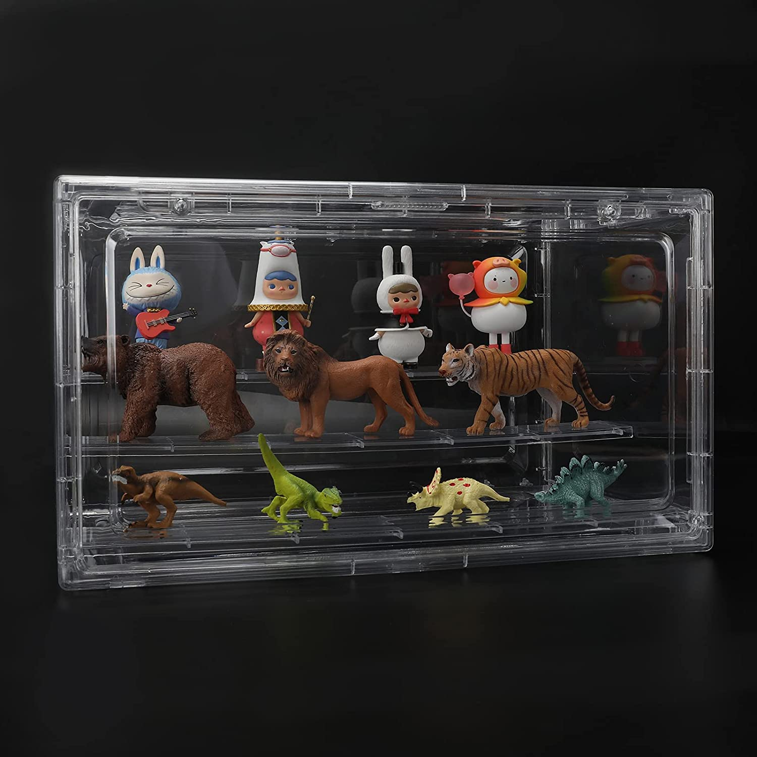 Special Campaign Majade Acrylic Display Case Large special price !! Clear 3 Stand Tiers Riser Sh