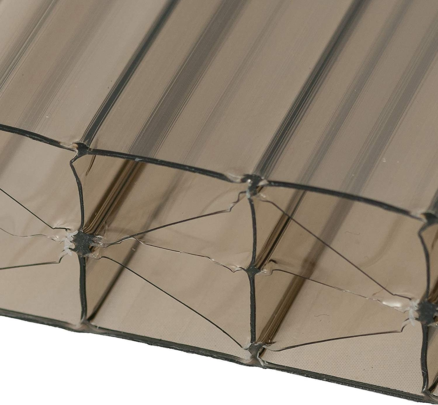 Bronze, 1 x 1.5m (Width x Length) 35mm Multiwall Polycarbonate Sheets Poly Plastic Roof Panel for Leanto Canopy Conservatory