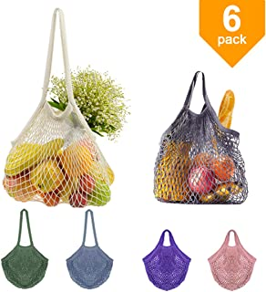 Reusable Mesh Shopping Tote Bags Grocery Handbag Net String Cotton Bags with Long + Short Handle for Fruits Vegetables Toys Carry Bags Washable Eco Friendly 6 Pack (Grey/Purple/Pink/Blue/Green/Beige)