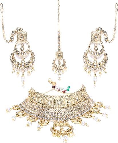 Mesmerising Kundan Pearls Bridal Necklace Set For Women ZPFK8291