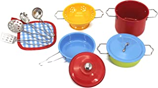 KIDAMI 11 Pieces Kitchen Pretend Toys, Stainless Steel Cookware Playset, Varieties of Pots Pans, Kids Cooking Utensils for Kids (Fit Little Baby Tiny Hands) (Colorful)