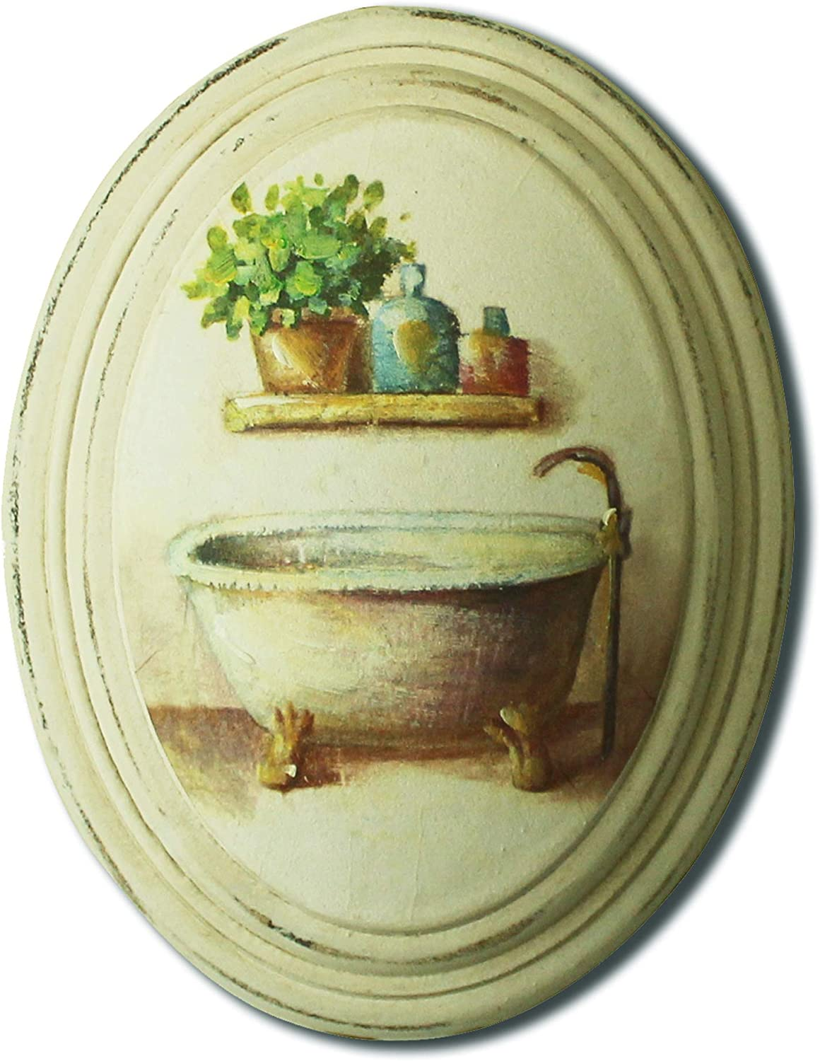 CVHOMEDECO. National products Max 83% OFF Primitive Vintage Hand Painted Oval Wooden Wal Frame