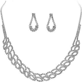 BRLTime Women's Austrian Crystal Elegant Wedding Love Necklace Earrings Set Rhinestone Bridesmaid Bridal Jewelry Sets Gift...