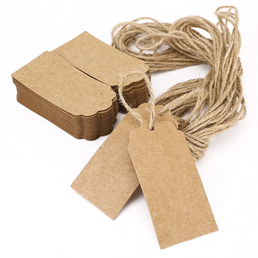 Printable Tags Hang Tag Kraft Paper Favor Tags Heart Shaped with 10M Rope, 45*90mm - 100pcs (Brown)