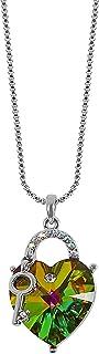 MOONSTONE Fashion Pendant For Women Love Heart Lock & Key Swarovski Crystal Elements Chain