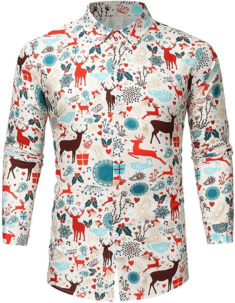 LIUguoo Mens Christmas Printed Shirt Slim Fit Long Sleeve Button Down Casual Wrinkle Free Party Holiday Dress Shirts