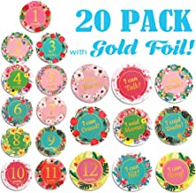 ANI and Mika co. Baby Milestone Stickers Monthly Newborn   20 Variety Pack Gold Foil   8 Bonus Achievements   Floral Vintage Tropical   Scrapbooking and Baby Gifts