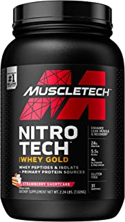Whey Protein Powder, MuscleTech Nitro-Tech Whey Gold Protein Powder, Whey Protein Isolate Smoothie Mix, Protein Powder for...