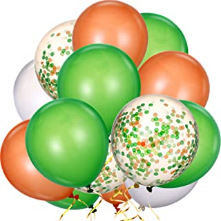 80 Pieces St. Patrick's Day Balloons Latex Balloons Confetti Balloons Colorful Party Balloons for Christmas Halloween Mermaid Valentine's Day St. Patrick's Day, 12 inch (Green, White, Orange)