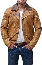 Abbraci - Men Vintage Motorcycle Rider Cafe Racer Retro Brown Biker Genuine Leather Gold Dark Distressed Jacket