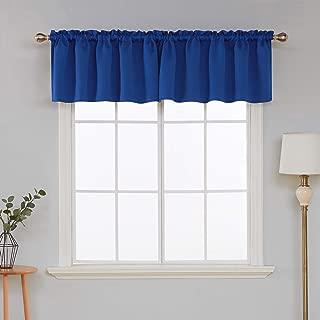 Deconovo Solid Blackout Rod Pocket Swag Curtain valances for Kitchen Window 42x18 Inch Royal Blue 1 Panel