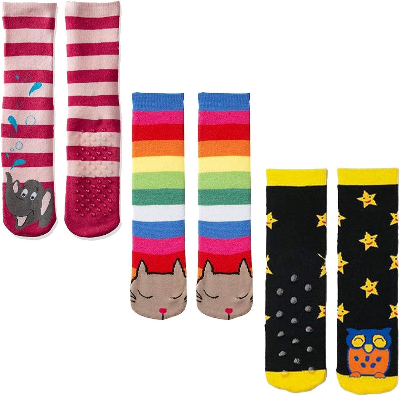 Kids Fun Animal Slipper Socks with Grips - Combo 3 Pair Multi Pack - Owls, Rainbow Cats, Pink Elephants