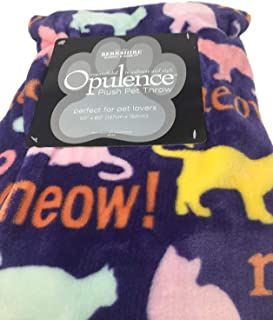 Opulence Pet Throw Blanket - Purple with Pink, Green and Yellow Cats MEOW with Pom Poms on edge