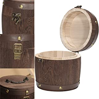 Wooden Barrel Storage | Large Oak Bucket for Tea Bag/Loose Tea/Flour/Coffee/Bean/Food Bean | Food Storage Canister with a Lid (Khaki)