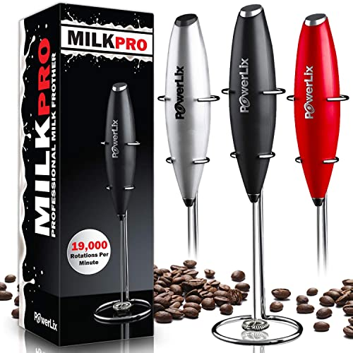 PowerLix Milk Frother Handheld Battery Operated Electric Foam Maker For Coffee, Latte, Cappuccino, Hot Chocolate, Durable Drink Mixer With Stainless Steel Whisk, Stainless Steel Stand Include (Black)