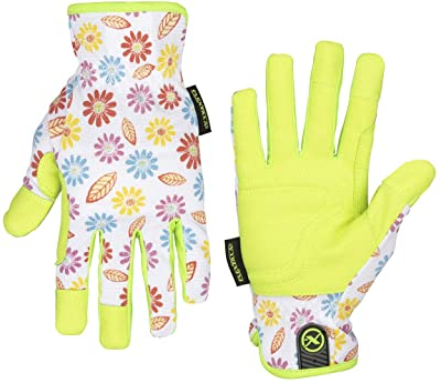 Flexzilla GH201M Utility, Synthetic Leather, Floral/ZillaGreen, M Women's Garden Glove, Medium