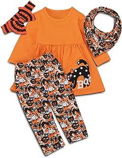 Toddler Baby Girls Halloween Outfits Sets Tunic Dress Pumpkin Leggings Headband