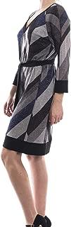 Grey, Black & Blue Chevron Print Sweater Dress Style 173756