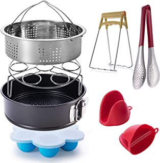 ASEL Instant Accessories Set for 6, 8 Qt, 7-Pcs Basket Steamer Rack/Egg Bites Molds/Non-Stick Springform Pan/Kitchen Tongs/Silicone Cooking Pot Mitts/Dish Clip (Renewed)