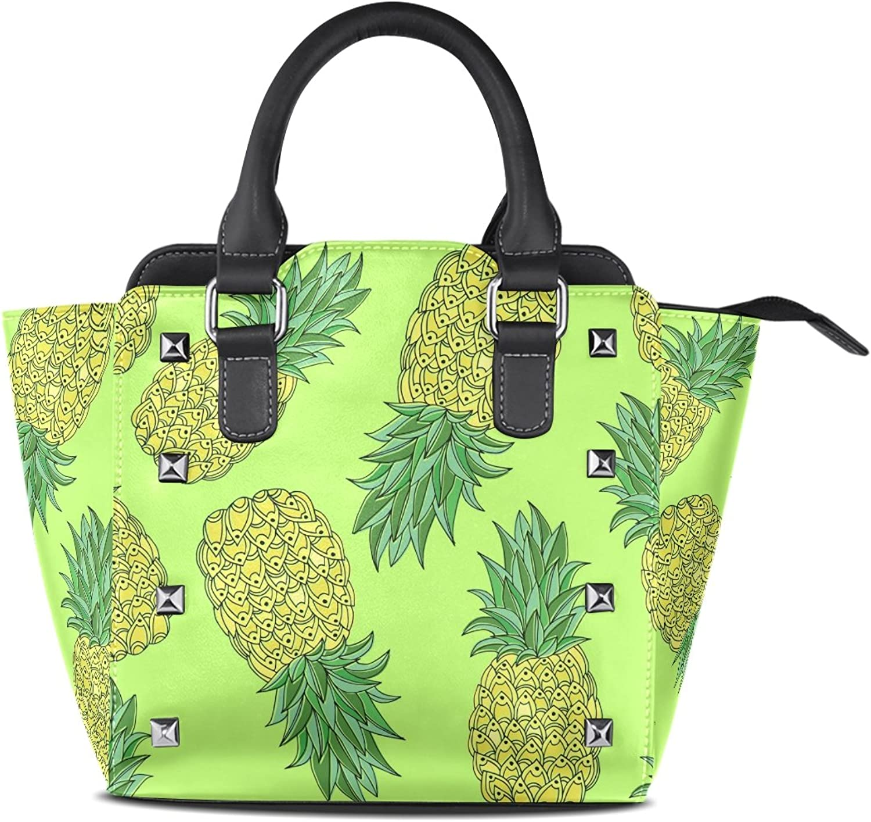 My Little Nest Women's Top Handle Satchel Handbag Hand Drawn Pineapples Ladies PU Leather Shoulder Bag Crossbody Bag