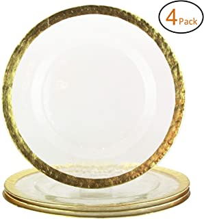 American Atelier 1875005-4BB Hammered Set of 4 Glass Charger Plates Decorative Service for Fine Dining For Upscale Events, Dinner Parties, Weddings, Catering, 13